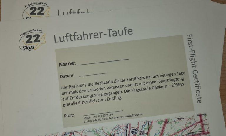 Zertifikat Luftfahrer-Taufe