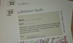 Zertifikate für Erstflieger